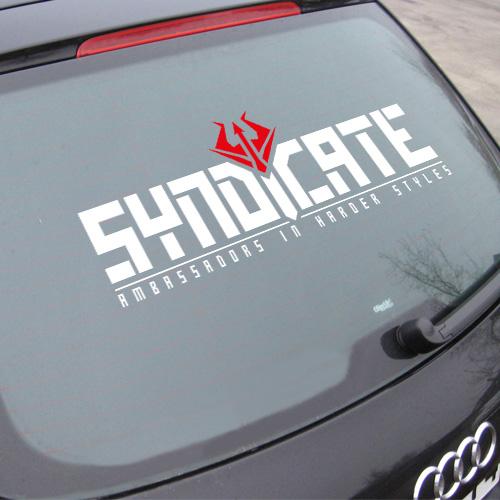 SYNDICATE | Autoaufkleber XXL | weiß/rot